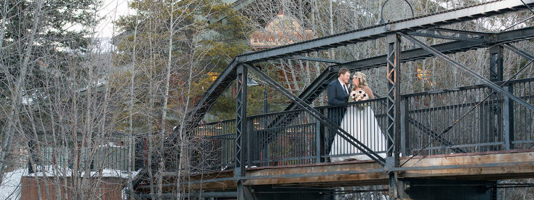 Bride and Groom at the Silverthorne Pavilion Winter Wedding