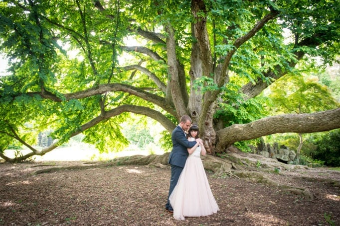 University of Pennsylvania Wedding Bride and Groom Under a Tree