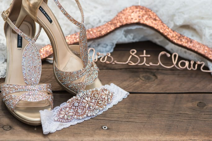 Sparkly Wedding Accessories at Spruce Mountain Ranch by Alex Marie Bridal Shoes