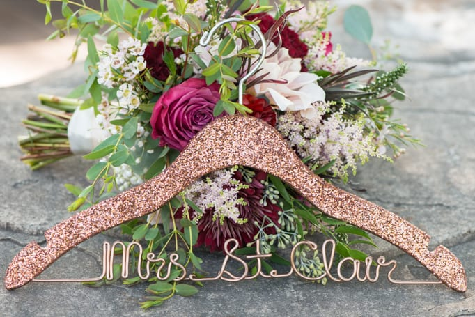 Easy Inspired Rose Gold Bridal Hanger and Bridal Bouquet by Calla Blue Florals