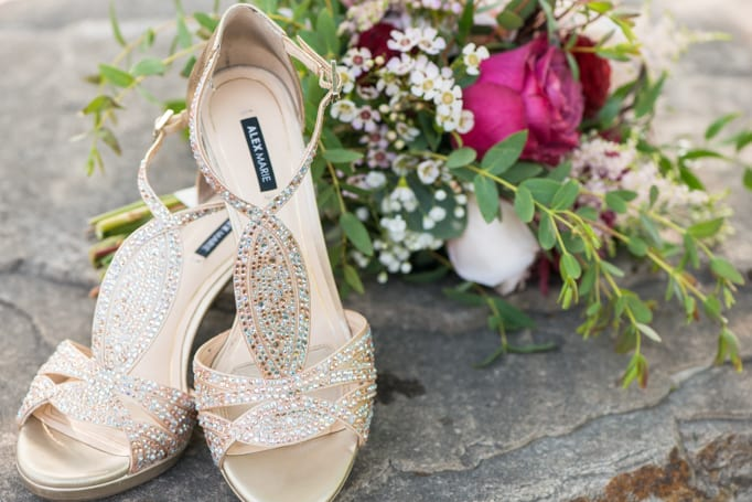 Bridal Shoes by Alex Marie and Bridal Bouquet by Calle Blue Florals