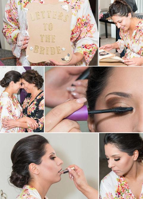 Colorado bride getting her makeup done