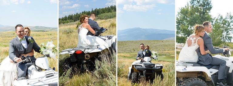 Bride and groom on an ATV