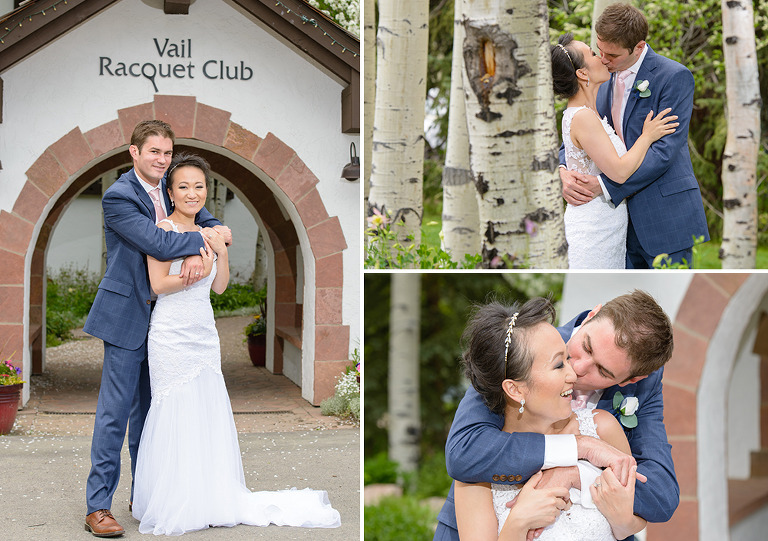Bride and groom at the Vail Racquet Club.