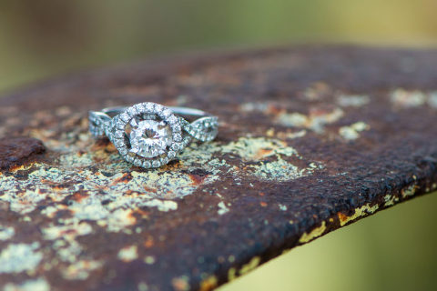 Halo Engagement Ring on Rusted Wheel at Chatfield Farms