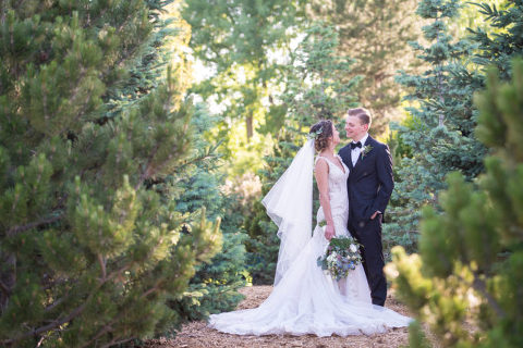 Hudson Gardens Wedding Bride and Groom in the Forest